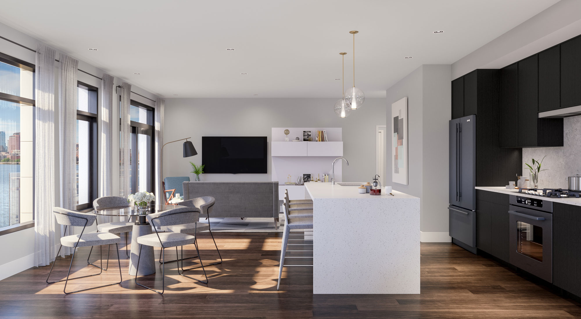 Open concept living area with attached kitchen
