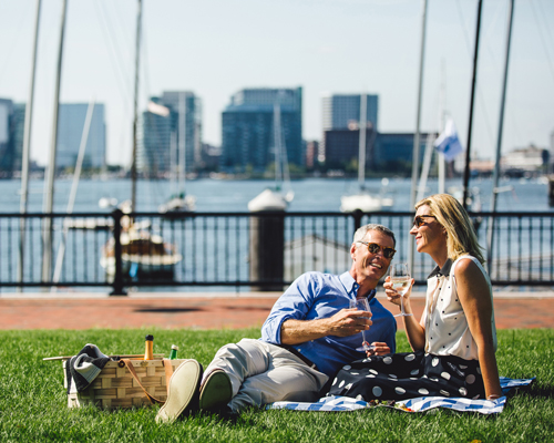 Couple picnic on the harbor