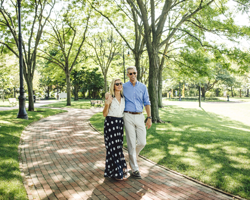 Couple walk in the park